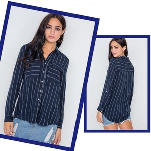 Striped Navy Blue Button Up Collared Dress Shirt S